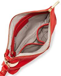 halston large leather wristlet clutch bag in red lyst