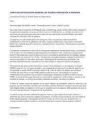 Carta De Notificación General De Posible Exposición A Paperas