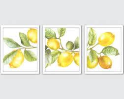 Lemon Art Print Watercolor Kitchen Wall Set Of 3 Prints Citrus