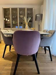 esszimmer stühle samt grau und rosa