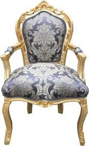 casa padrino barock esszimmer stuhl royalblau muster gold mit armlehnen möbel barockgroßhandel de
