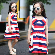 Sleeveless Striped Dress For Girls Summer 2017 Fashion Cotton Children Clothing Kids Clothes Teenage