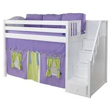 Maxtrix Galant Playhouse Mid Loft in White w Stairs Curve Bed