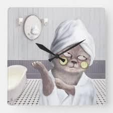 badezimmer spaß wanduhren zazzle de