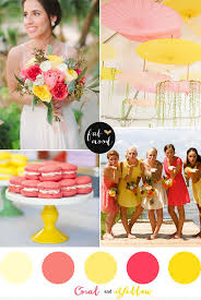 Coral Color Decorations For Wedding by Best 20 Yellow Wedding Decor Ideas On Pinterest Brunch Table