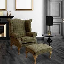 buy wool chesterfield wing chair in grey tartan