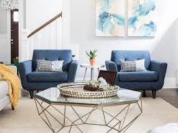 Transitional Living Room With Blue Hues
