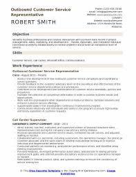Outbound Customer Service Representative Resume Example