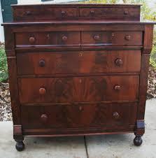 Federal Empire Antique Dresser Chest Crotch Flame Mahogany Thomas
