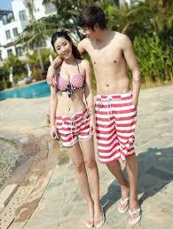 white red striped couple lover beach surf board summer swim sports