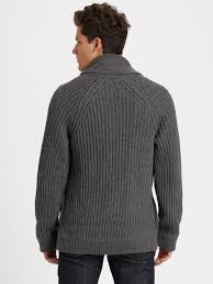 vince chunky wool cardigan in gray for men lyst