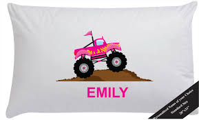 Girls Personalized Pink Monster Truck Pillow Case