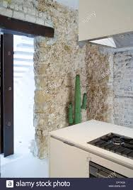 100 Modern Stone Walls Kitchen With Exposed Stone Walls Hilit Stock Photo