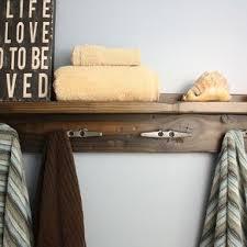 Bath Shelf With Boat Cleat Towel Hooks