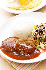 modern japanese cuisine modern japanese cuisine mamburg steak stock photo piyachok