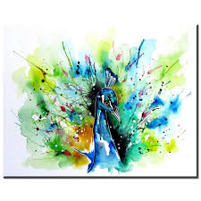 ZZ1348 Simple Abstract Canvas Art Watercolor Peacock Bird Pictures Oil Painting For Livingroom Bedroom Decoration In Calligraphy