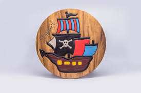 100 Pirate Ship Design Childrens Wooden Step Or Stool Personalised