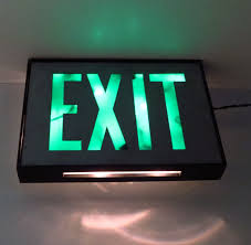 Green Letter EXIT Sign Vintage Industrial Salvage Metal Exit Sign