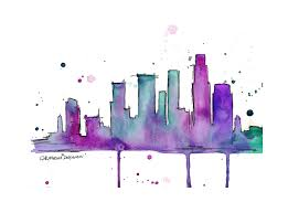 Here Is A Very Simple But Detailed Watercolour Painting Of Skyline Paintings