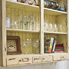 Vintage Kitchen Storage Shelves With Glass Tableware