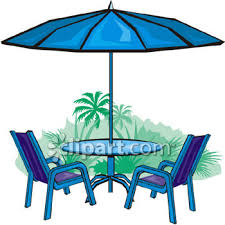 Royalty Free Clipart Image Patio Set Of Table And Chairs With An Umbrella