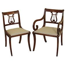 Lyre Back Chairs Antique by 6 Lyre Back Mahogany Klismos Dining Chairs At 1stdibs