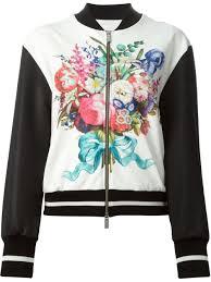 emanuel ungaro floral print bomber jacket in black lyst