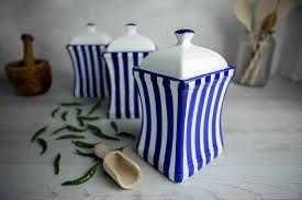 Ceramic Kitchen Canister Sets Navy Blue Stripe Pottery Handmade Painted Large Ceramic Kitchen Storage Jar Set Canister Set