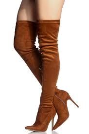camel faux suede thigh high pointed toe boots cicihot heel shoes