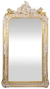 casa padrino barock wandspiegel antik weiß gold 85 x h 160 cm prunkvoller barock spiegel mit wunderschönen verzierungen und dekorativen