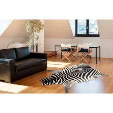 living line fellteppich zebra look fellförmig 7 mm höhe kunstfell wohnzimmer