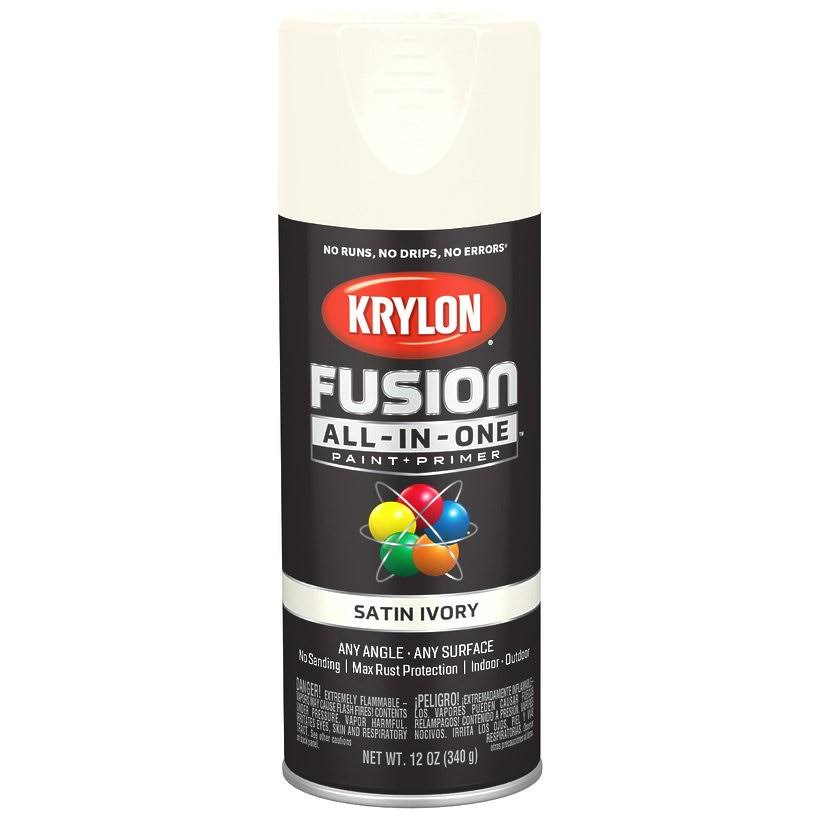 Krylon Fusion All In One Spray Paint and Primer - Satin Ivory, 12oz
