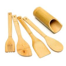 ustensile de cuisine 5 pcs ensemble bambou ustensile cuisine en bois ustensiles de