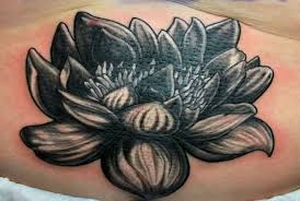 Dark Black Simple Lotus Flower Tattoo Idea