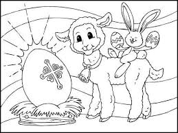 Easter Coloring Pages Lamb Egg Bunny