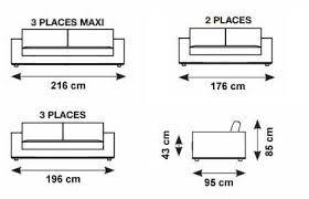 taille canapé 3 places dimension canape 2 places