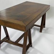 Maitland Smith Kidney Desk by Mid Century Modern Campaign Style Leather Clad Desk For Sale At