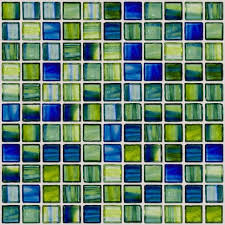 green and blue swirl handmade glass tile contemporary mosaic