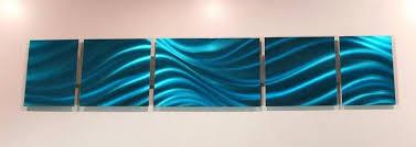 Modern Abstract Metal Wall Art Blue Ocean Aluminum Sculpture Acrylic
