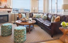 Dark Brown Leather Couch Living Room Ideas by L Shape Dark Brown Leather Sofa With Cushions Also Short Legs