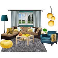 Brown And Teal Living Room Designs by Wonderful Living Room Idea Ii Yellow And Teal Polyvore At Find