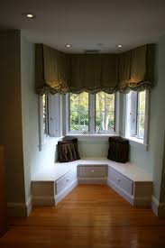 Living Room Curtain Ideas With Blinds by Interior Gorgeous Window Decoration With Wooden Blind For Bay