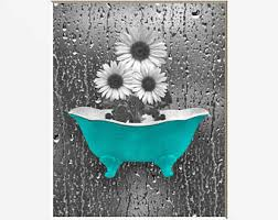 Sunflower Bathroom Decor Teal Gray Wall Art Raindrops Home Matted Picture