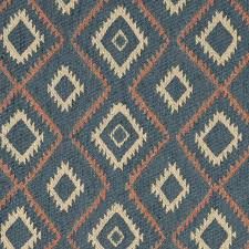 Blue Salmon And Beige Diamond Southwest Style Upholstery Fabric By The Yard Rustic