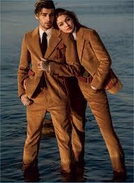 Couple Zayn Malik And Gigi Hadid Wear Brown Corduroy Looks From Prada For Vogue
