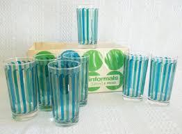 Vintage Retro Drinking Glasses Tumblers Set Of 7 Libbey Informals Green And Teal Blue Stripes Tumbler Cups Glass Bar Barware NIB