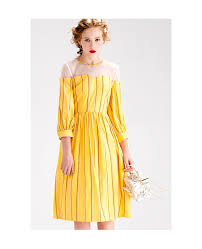 yellow stripe knee length wedding guest dress with 3 4 sleeves
