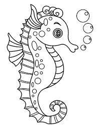 A Lovely Seahorse With Lots Of Bubble Coloring Page