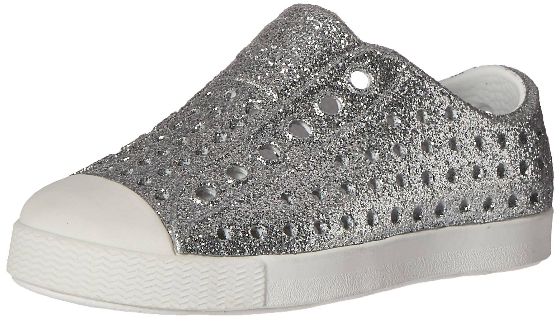 Native Shoes Toddler Jefferson Bling Shoes - Silver Bling and Shell White