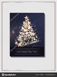 Christmas Poster Or Flyer Template With Tree Of Cutout Shining Gold Stars Vector By TotallyBlond